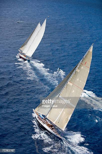 Aerial view of J-Class Cutter Ranger in the Antigua Classic Yacht Regatta, Antigua & Barbuda