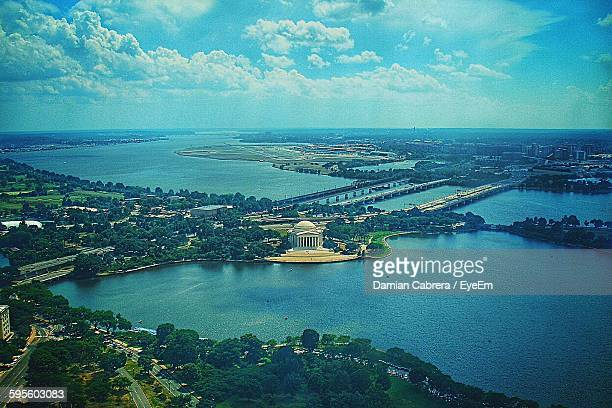 Aerial View Of Jefferson Memorial And Sea Against Cloudy Sky