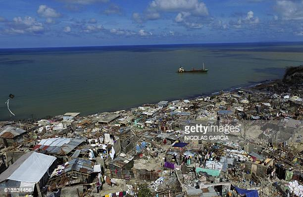 Aerial view of Jeremie 188 km west of PortauPrince on October 10 following the passage of Hurricane Matthew Haiti faces a humanitarian crisis that...