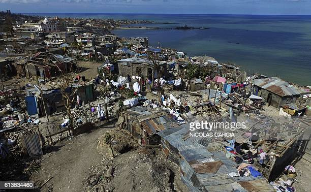 TOPSHOT Aerial view of Jeremie 188 km west of PortauPrince on October 10 following the passage of Hurricane Matthew Haiti faces a humanitarian crisis...