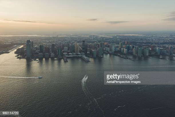 Aerial View of Jersey City and the Hudson River at sunset