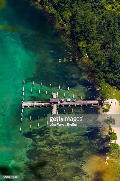 aerial view of jetty in konigssee - königssee bavaria stock photos and pictures