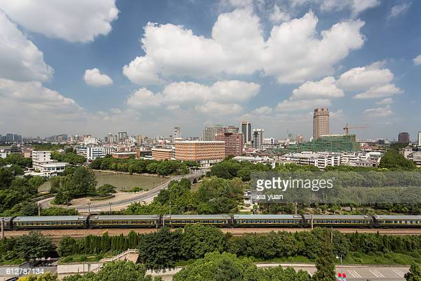 Aerial view of Jiaxing center against blue sky,Zhejiang Province,China