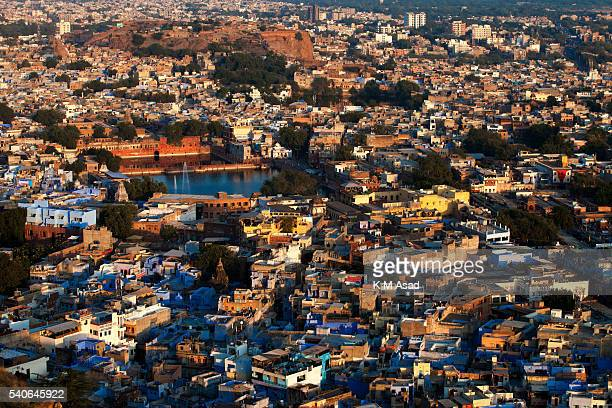 Aerial view of Jodhpur city in Rajasthan India December 04 2013 This city was founded in 1459 People continue to paint their houses blue as they say...