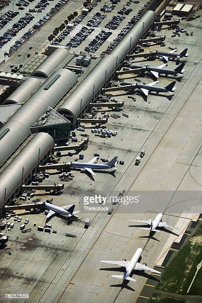 aerial view of john wayne airport, irvine, california - john wayne airport stock pictures, royalty-free photos & images