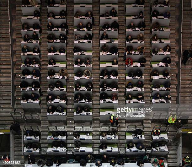 Aerial view of journalists in the Aviva Stadium Dublin Ireland vs All Blacks Mandatory Credit ©INPHO/Billy Stickland