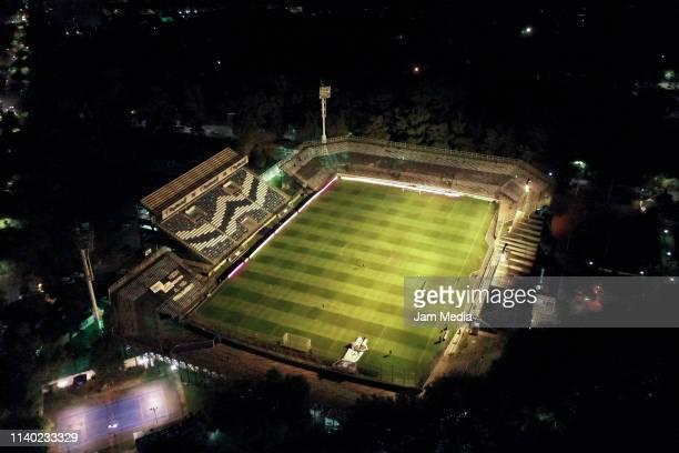 Aerial view of Juan Carmelo Zerillo Stadium prior a round of sixteen second leg match between Gimnasia y Esgrima La Plata and Defensa y Justicia as...