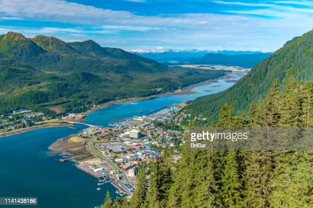 aerial view of juneau and the gastineau channel - alaska stock pictures, royalty-free photos & images