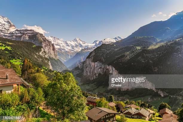 aerial view of jungfrau region, lauterbrunnen village and staubbach falls, switzerland - 高ダイナミックレンジ画法 ストックフォトと画像