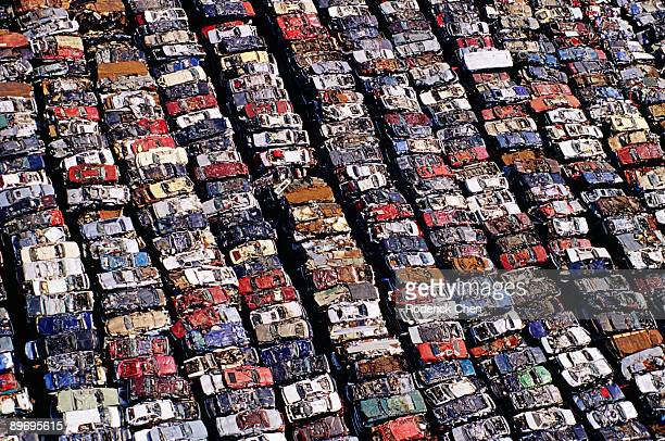 aerial view of junkyard - junkyard stock photos and pictures