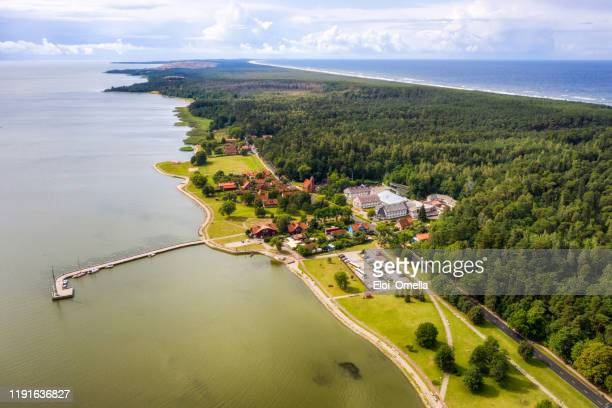 aerial view of juodkrante, curonian split, lithuania - lithuania stock pictures, royalty-free photos & images