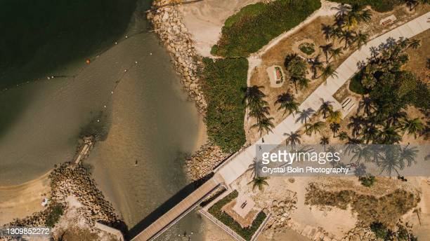 aerial view of jupiter beach, florida at mid-day during spring break in march of 2021 - jupiter florida stock pictures, royalty-free photos & images