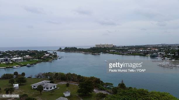 aerial view of jupiter island - jupiter island stock photos and pictures