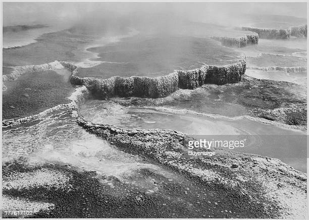 Aerial view of Jupiter Terrace Fountain Geyser Pool Yellowstone National Park Wyoming 1942