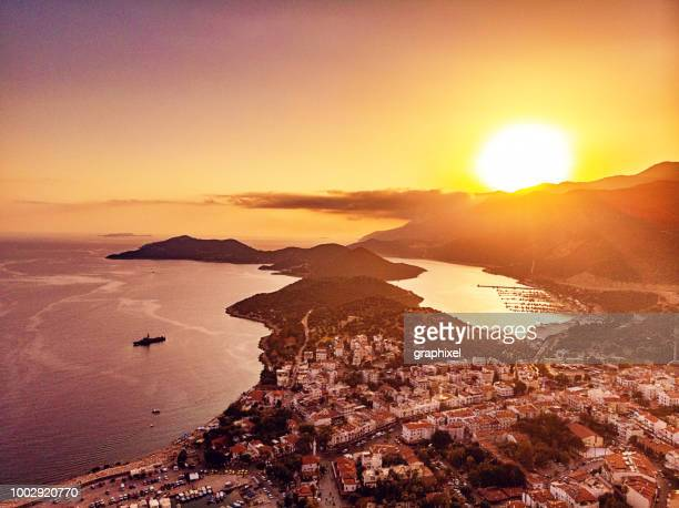 aerial view of kaş, antalya - antalya province stock pictures, royalty-free photos & images
