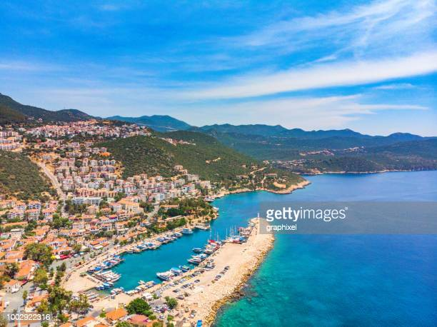 aerial view of kaş, antalya - kas stock pictures, royalty-free photos & images