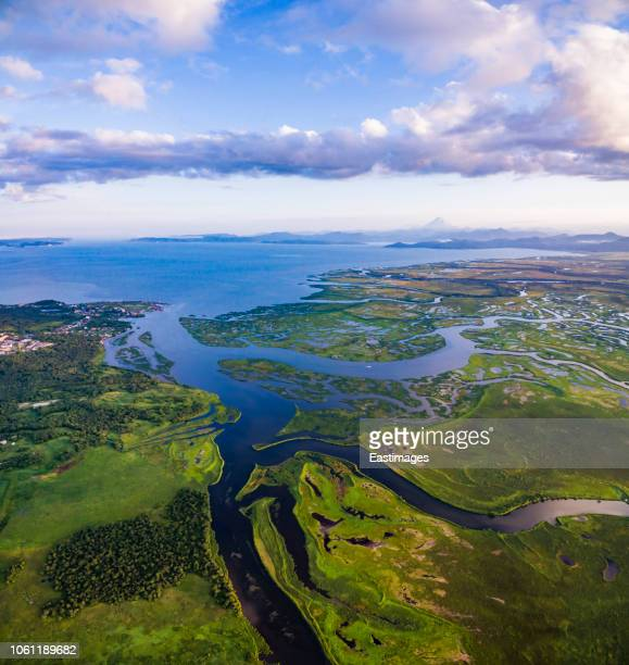 aerial view of kamchatka peninsula with volcano in the background - tundra foto e immagini stock