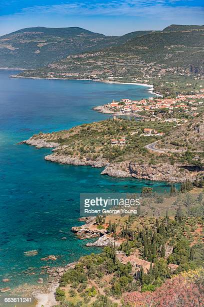 aerial view of kardamyli, mani peninsula, greece - peloponnese stock photos and pictures
