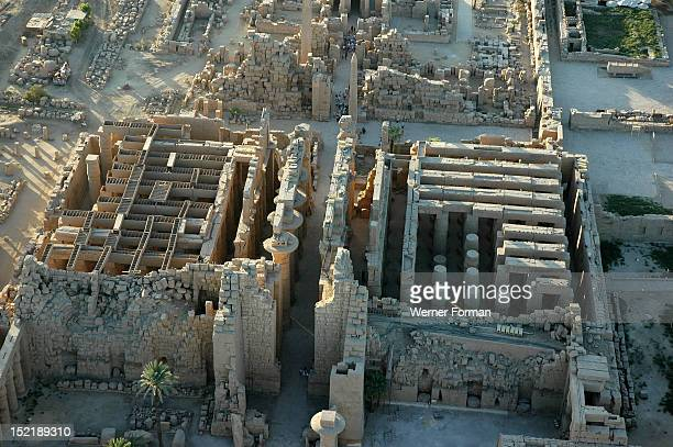 Aerial view of Karnak showing the 2nd Pylon and the Great Hypostyle Hall Egypt Karnak