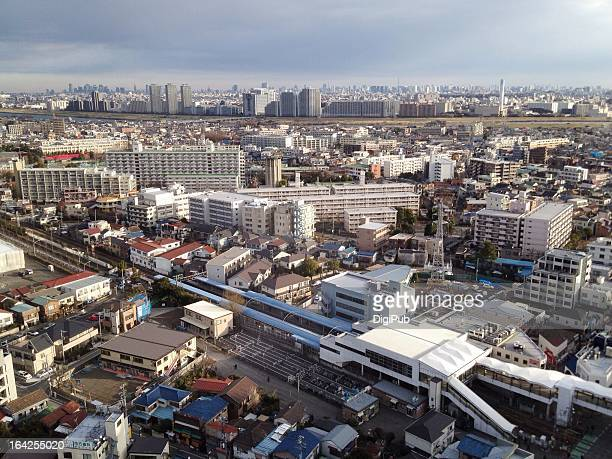 aerial view of kashimada in the morning - 川崎市 ストックフォトと画像