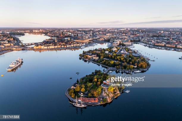 aerial view of kastellholmen, sweden - stockholm stock pictures, royalty-free photos & images