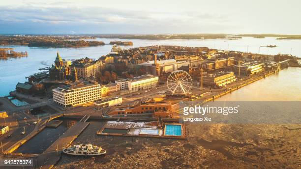 aerial view of katajanokka island and cityscape at sunrise, helsinki, finland - helsinki stockfoto's en -beelden