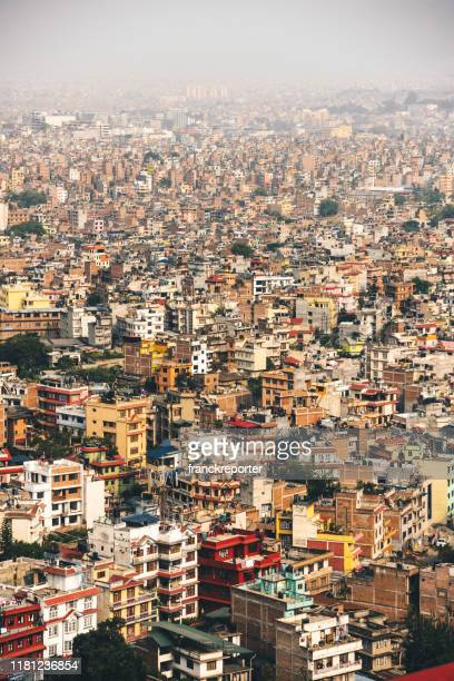 aerial view of kathamandu rooftop - kathmandu stock pictures, royalty-free photos & images