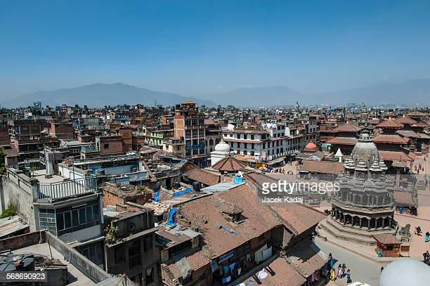 aerial view of kathmandu city - pashtun stock photos and pictures