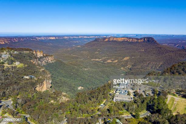 aerial view of katoomba - blue mountains national park stock pictures, royalty-free photos & images
