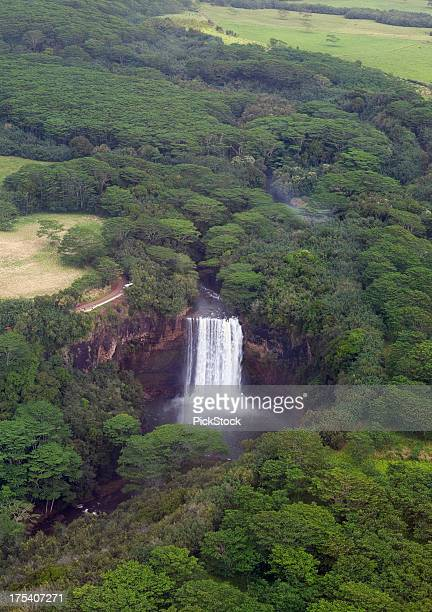 aerial view of kauai hawaii angel falls - angel falls stock photos and pictures
