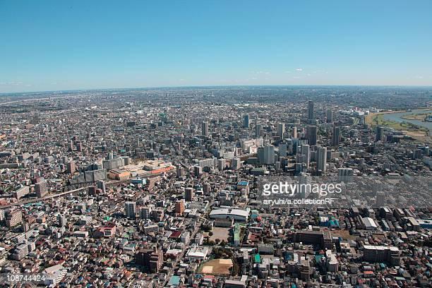 aerial view of kawaguchi city, saitama prefecture, honshu, japan - saitama prefecture stock pictures, royalty-free photos & images