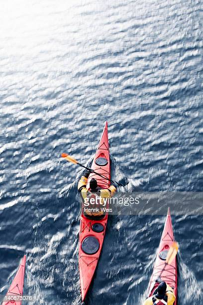 Aerial view of kayakers in water