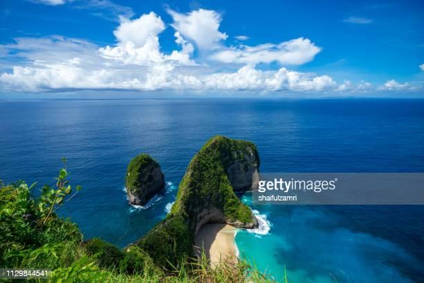 aerial view of kelingking beach aka t-rex head beach in nusa penida, bali, indonesia - shaifulzamri stock pictures, royalty-free photos & images
