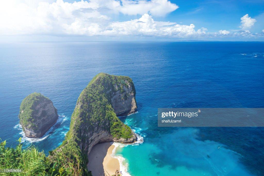 Aerial view of Kelingking Beach aka T-Rex Head Beach in Nusa Penida, Bali, Indonesia : Stock Photo