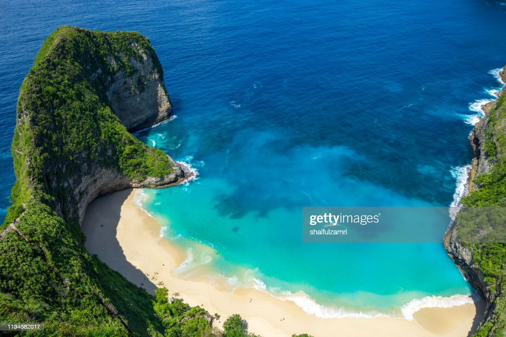 Aerial view of Kelingking Beach aka T-Rex Head Beach in Nusa Penida, Bali, Indonesia : Stock Photo