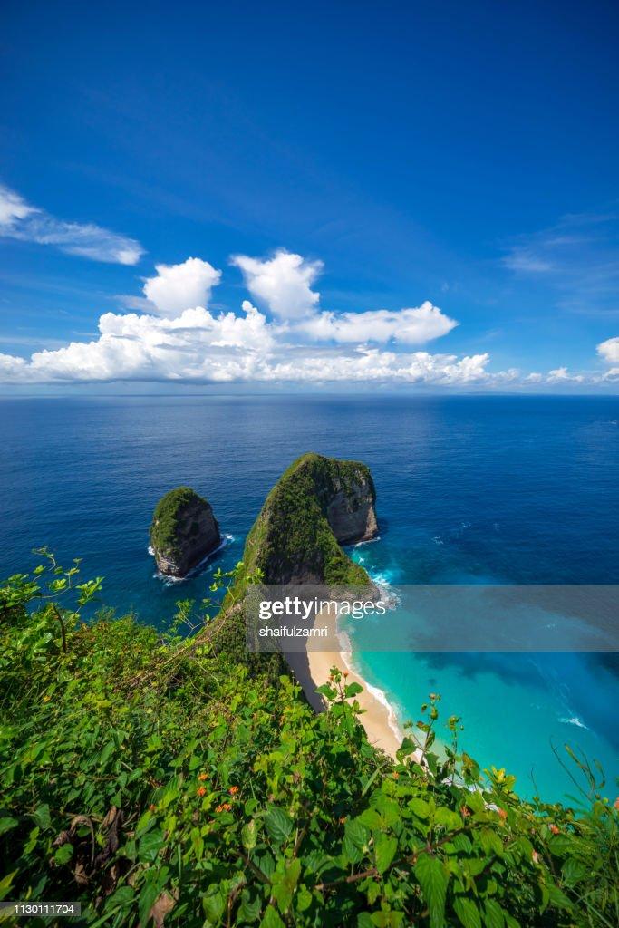 Aerial view of Kelingking beach at Nusa Penida island, Bali, Indonesia. : Stock Photo