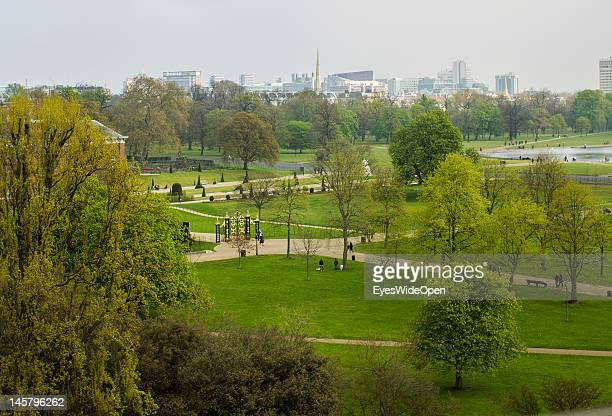 Aerial view of Kensington Gardens, a big park with a lot of trees next to Hyde Park, and the skyline on April 15, 2012 in London, England, United...