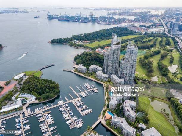 Aerial view of keppel bay with modern residence in Singapore city.