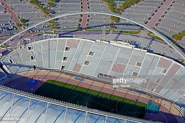 aerial view of khalifa international stadium - fifa world cup stock pictures, royalty-free photos & images