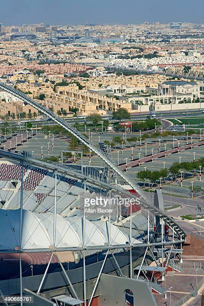aerial view of khalifa international stadium - international soccer event stock pictures, royalty-free photos & images