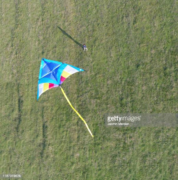 aerial view of kite flying over meadow - kite toy stock pictures, royalty-free photos & images