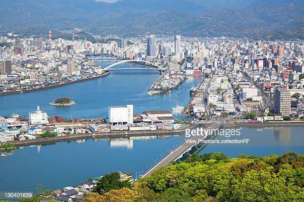 Aerial view of Kochi city, Kochi Prefecture, Shikoku, Japan