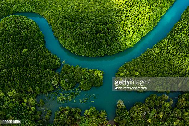 aerial view of koh chang - rivier stockfoto's en -beelden