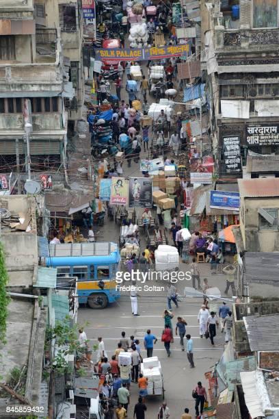 Aerial view of Kolkata Burrabazar also spelt Bara Bazar is a neighbourhood in central Kolkata on June 20 2016 in Kolkata India