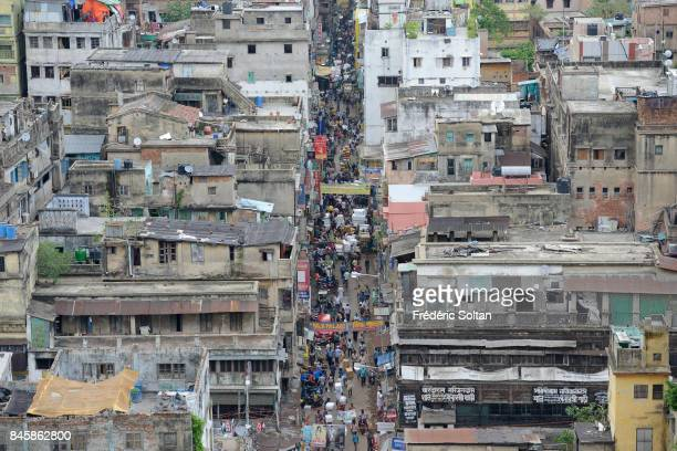 Aerial view of Kolkata Burrabazar also spelt Bara Bazar is a neighbourhood in central Kolkata on June 20 2016 in Kolkata India