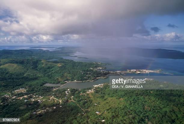 Aerial view of Kolonia Pohnpei Island Micronesia