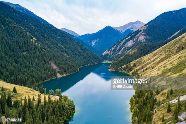 aerial view of kolsai lake, kazakhstan - kazakhstan stock pictures, royalty-free photos & images