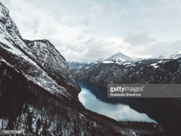 aerial view of konigsee lake and winter snowy bavarian alps peaks - thuringia stock pictures, royalty-free photos & images