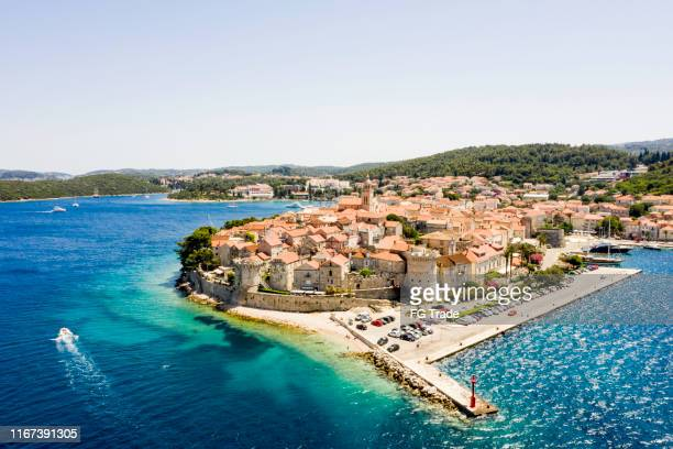 aerial view of korcula, croatia - croatia stock pictures, royalty-free photos & images