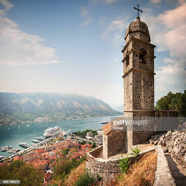 aerial view of kotor bay and church of saint jovan. - kotor bay stock pictures, royalty-free photos & images